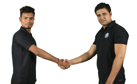 two cleaners shaking hands indicating broombergs cleaning partners