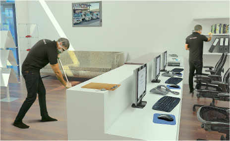 image professional office. Contemporary Image A Professional Cleaner Cleaning An Office One Is Mopping The Floor While  Other Dusting And Image Professional Office