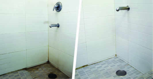 Before after picture of a bathroom floor and wall tiles to show the result of bathroom deep cleaning