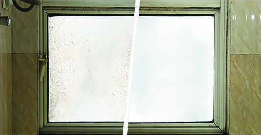 Before after picture of a bathroom window showing effects of bathroom cleaning