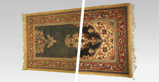 Wide angle before and after picture of a carpet after being cleaned by carpet cleaning experts