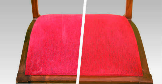 before after image of a red dining chair upholstery after chair cleaning service