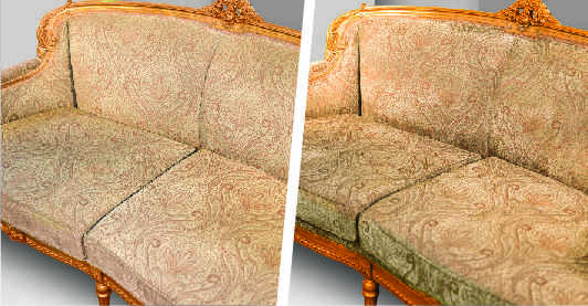 Before after image of an antique fabric sofa showing effects of sofa dry cleaning which has made the color visibly brighter