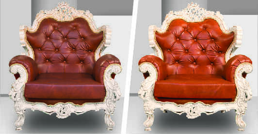 Before after image of a brown leather sofa seat showing effects of sofa dry cleaning which has made the color visibly brighter by removing dust and grime