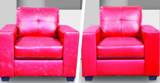 Before after image of a red leather sofa seat showing effects of professional sofa dry cleaning which has made the color visibly brighter and removed stains